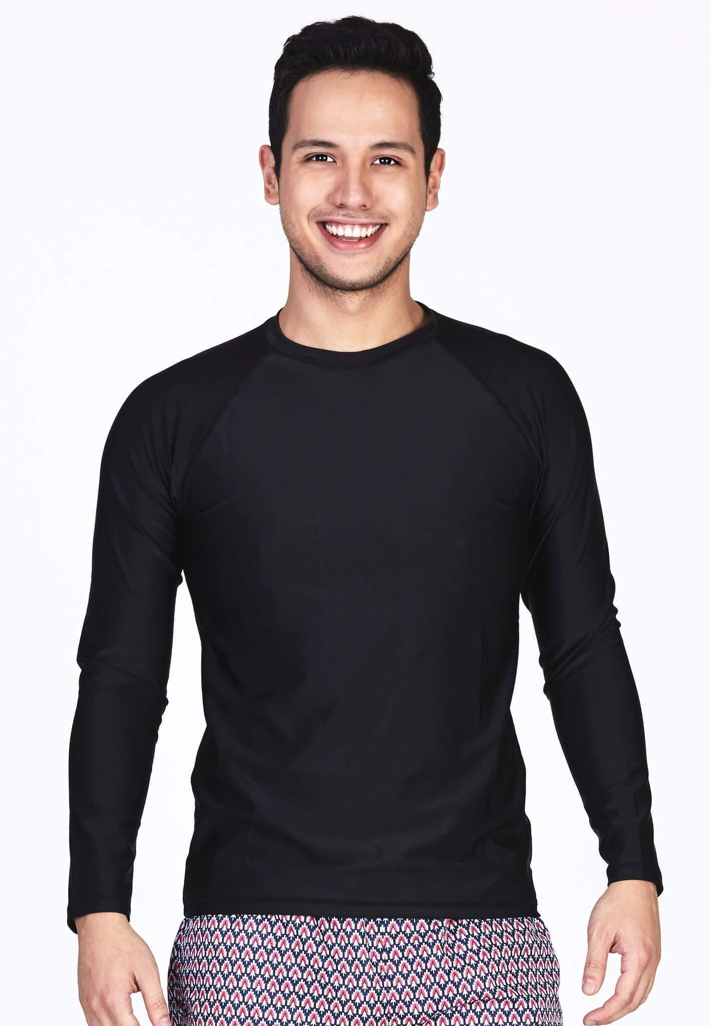 UPF50+ Crew Neck Rash Top in Black - FUNFIT