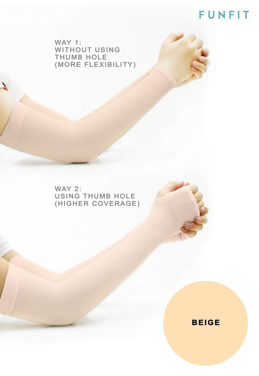 CoolFIT™ UV-Protective Arm Sleeves in Beige - FUNFIT