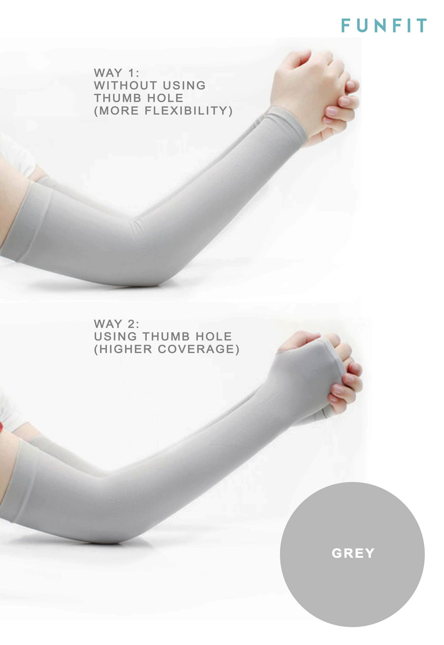 CoolFIT™ UV-Protective Arm Sleeves in Grey - FUNFIT