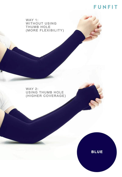 CoolFIT™ UV-Protective Arm Sleeves in Blue - FUNFIT