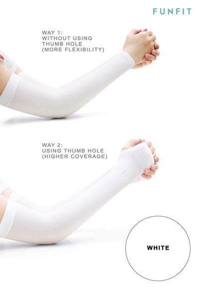 CoolFIT™ UV-Protective Arm Sleeves in White - FUNFIT