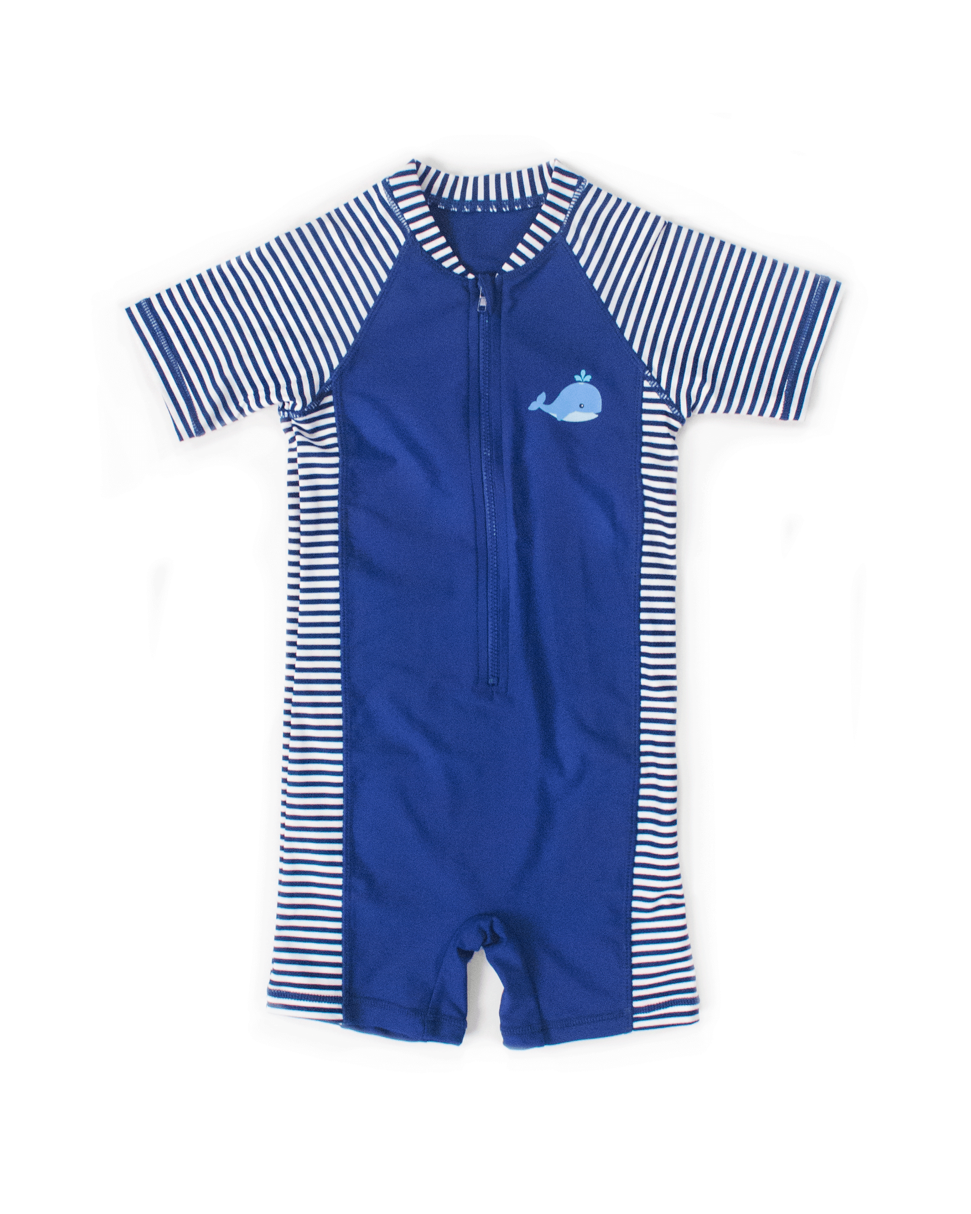 UPF50+ Junior Sunsuit (Unisex) in Stripes/ Navy