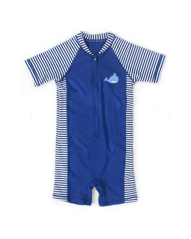 UPF50+ Junior Sunsuit (Unisex) in Stripes/ Navy - FUNFIT