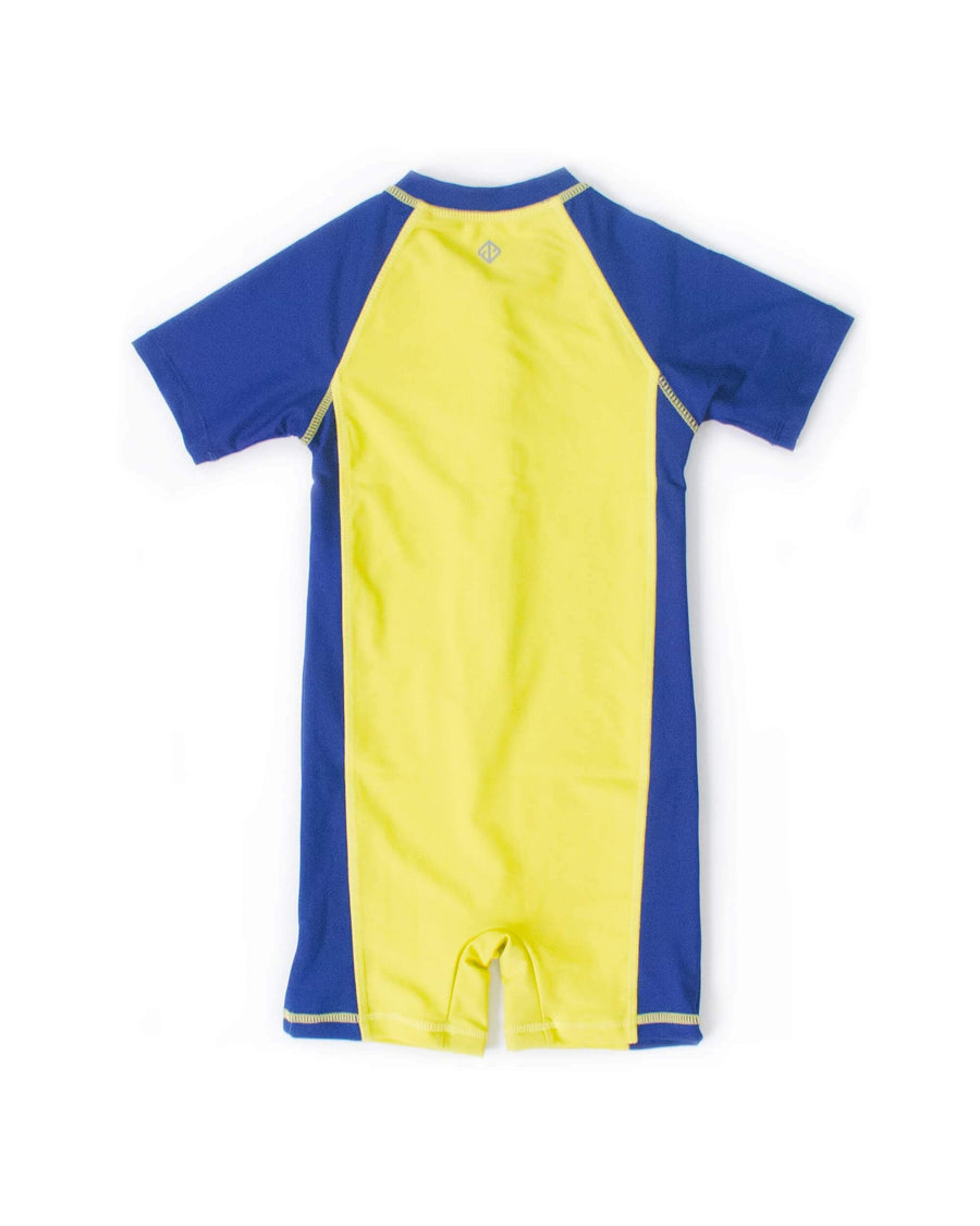 UPF50+ Junior Sunsuit (Unisex) in Neon Fluro/ Navy
