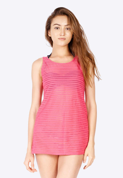 Openwork Mini-Shift Dress in Pink (with Side Pockets) - FUNFIT