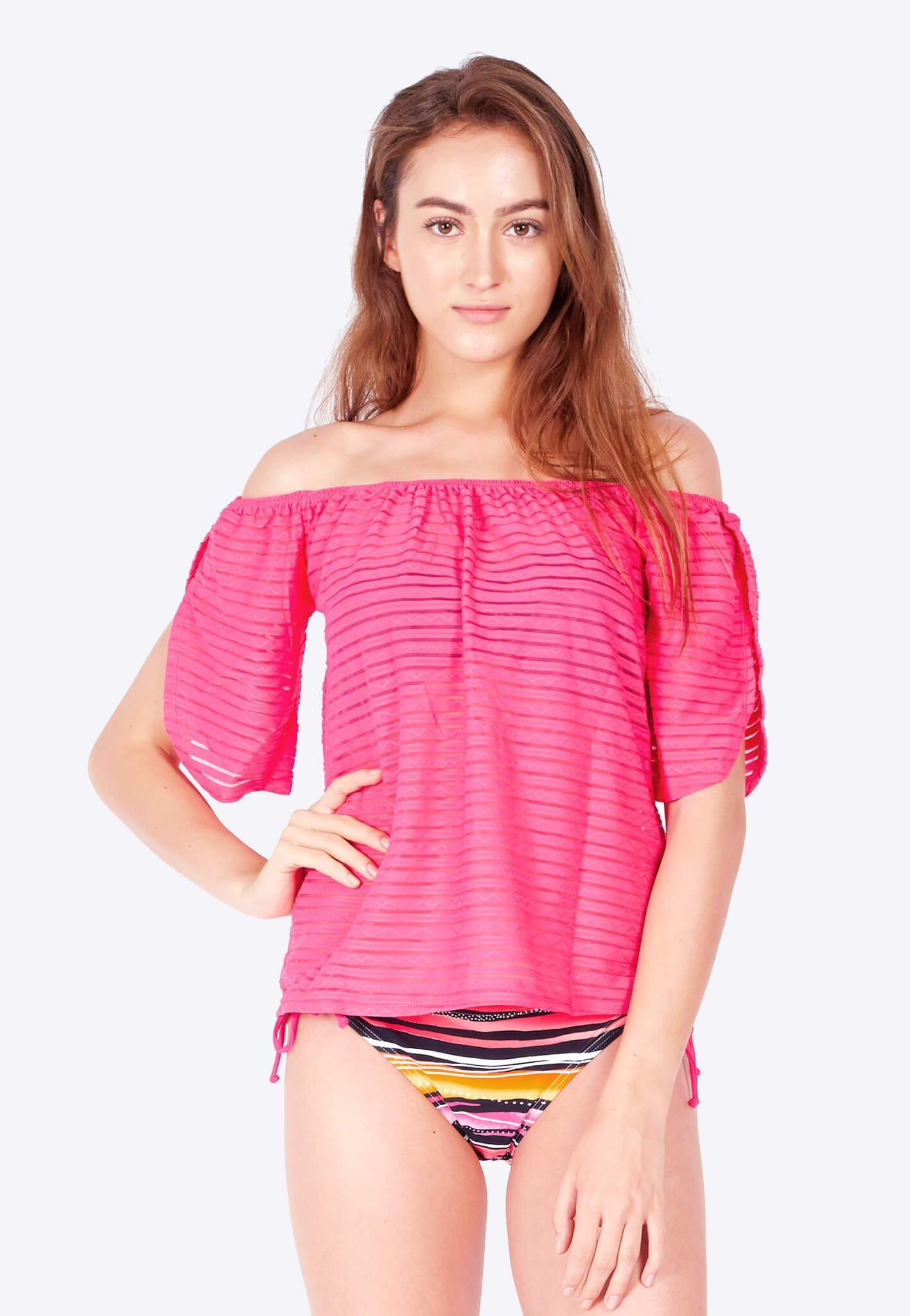 Openwork Off-Shoulder in Pink - FUNFIT