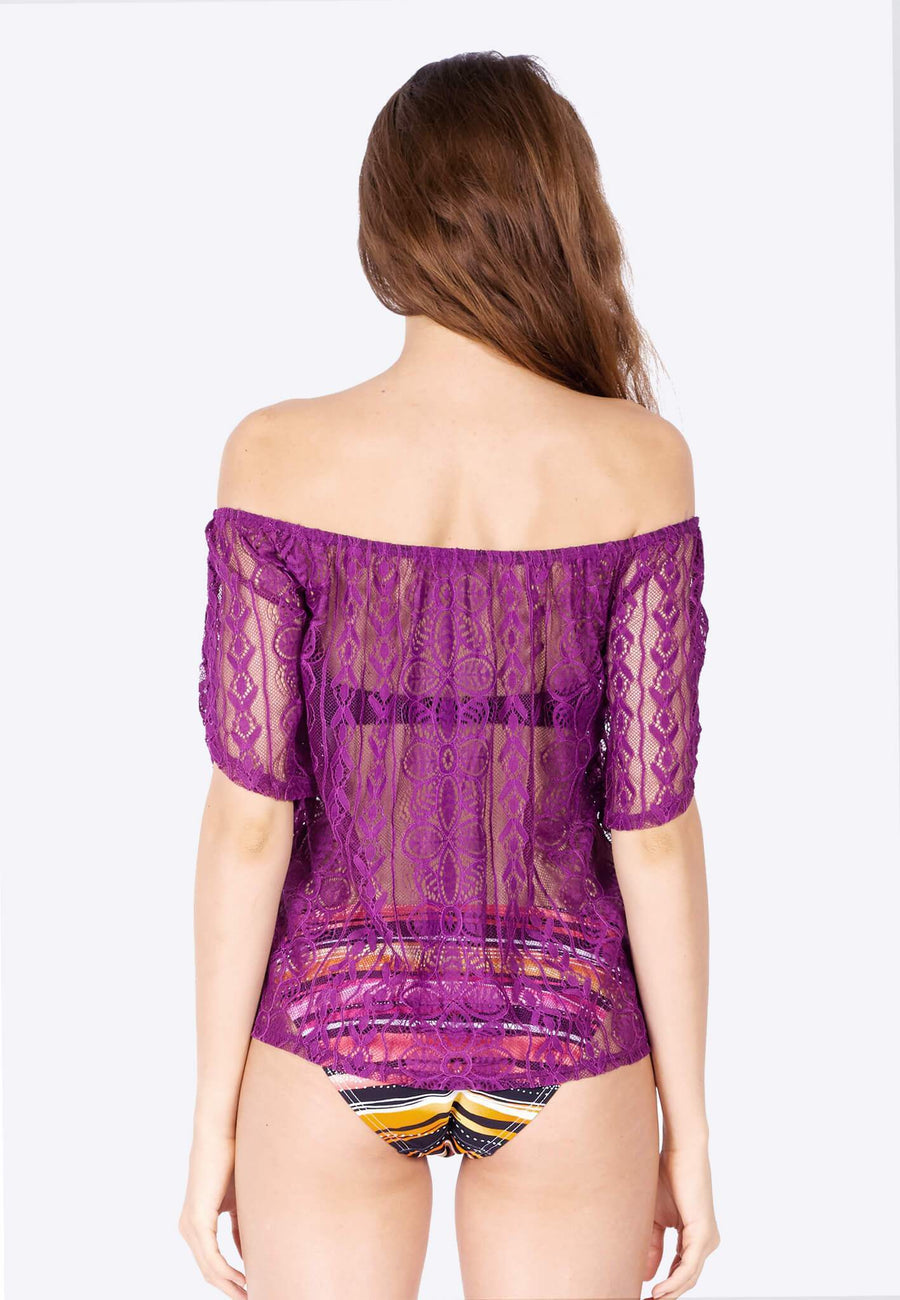 Openwork Off-Shoulder in Grape slush