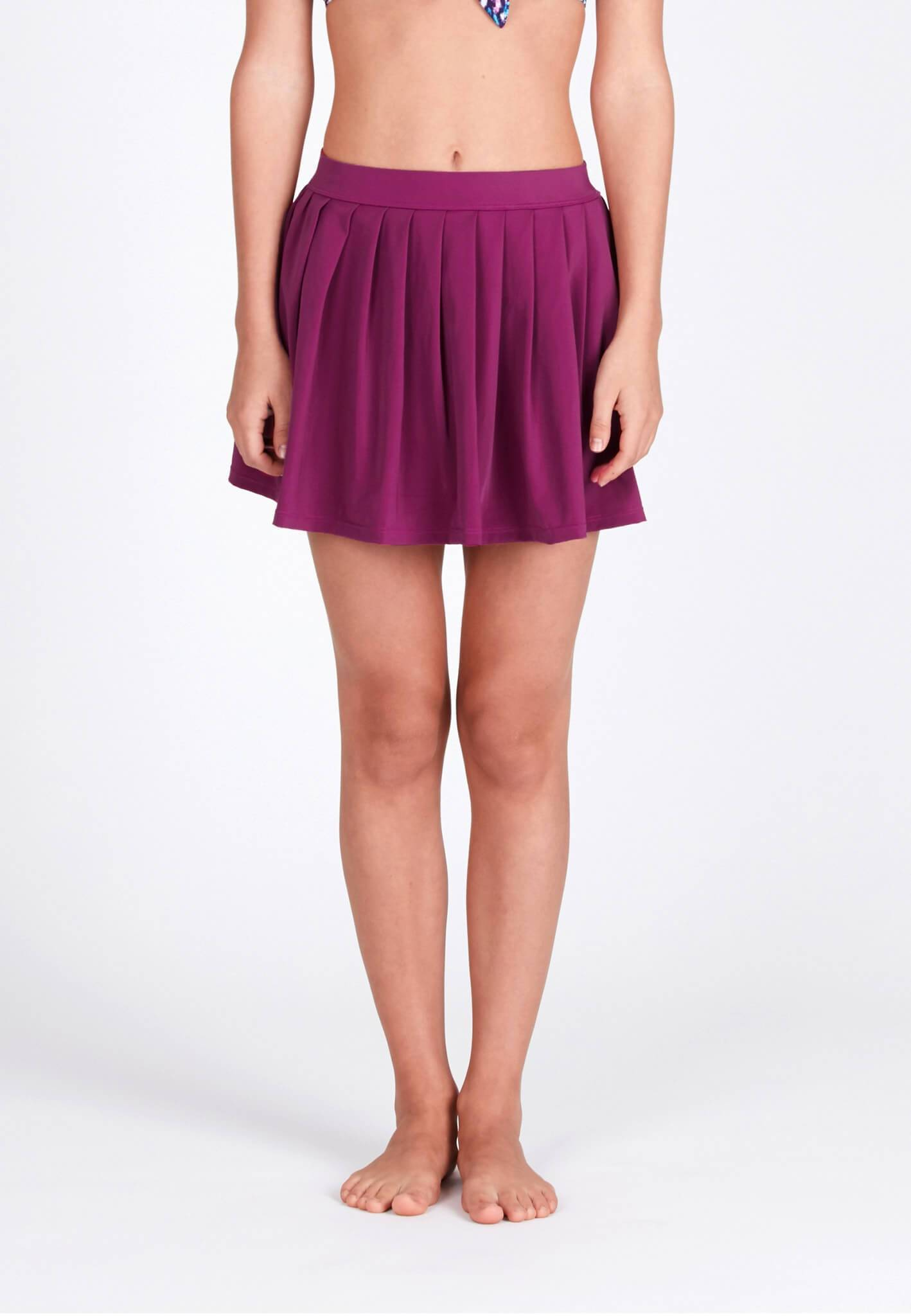 Pleated Swim Skorts in Mulberry - FUNFIT