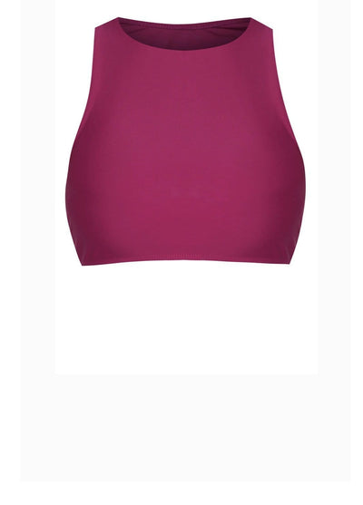 AthleiSwim™ Racer Crop Top in Mulberry - FUNFIT