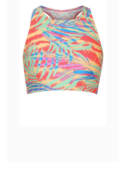 AthleiSwim™ Racer Crop Top in Palm Abstract Neon Print - FUNFIT