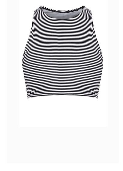 AthleiSwim™ Racer Crop Top in Striped Print - FUNFIT