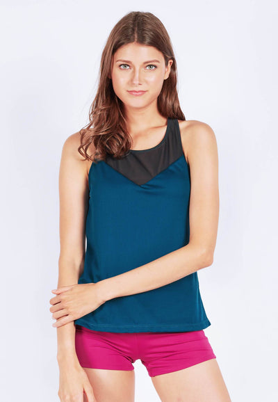 Rocking With Mesh Tank Top in Dark Teal (XS - 2XL) - FUNFIT