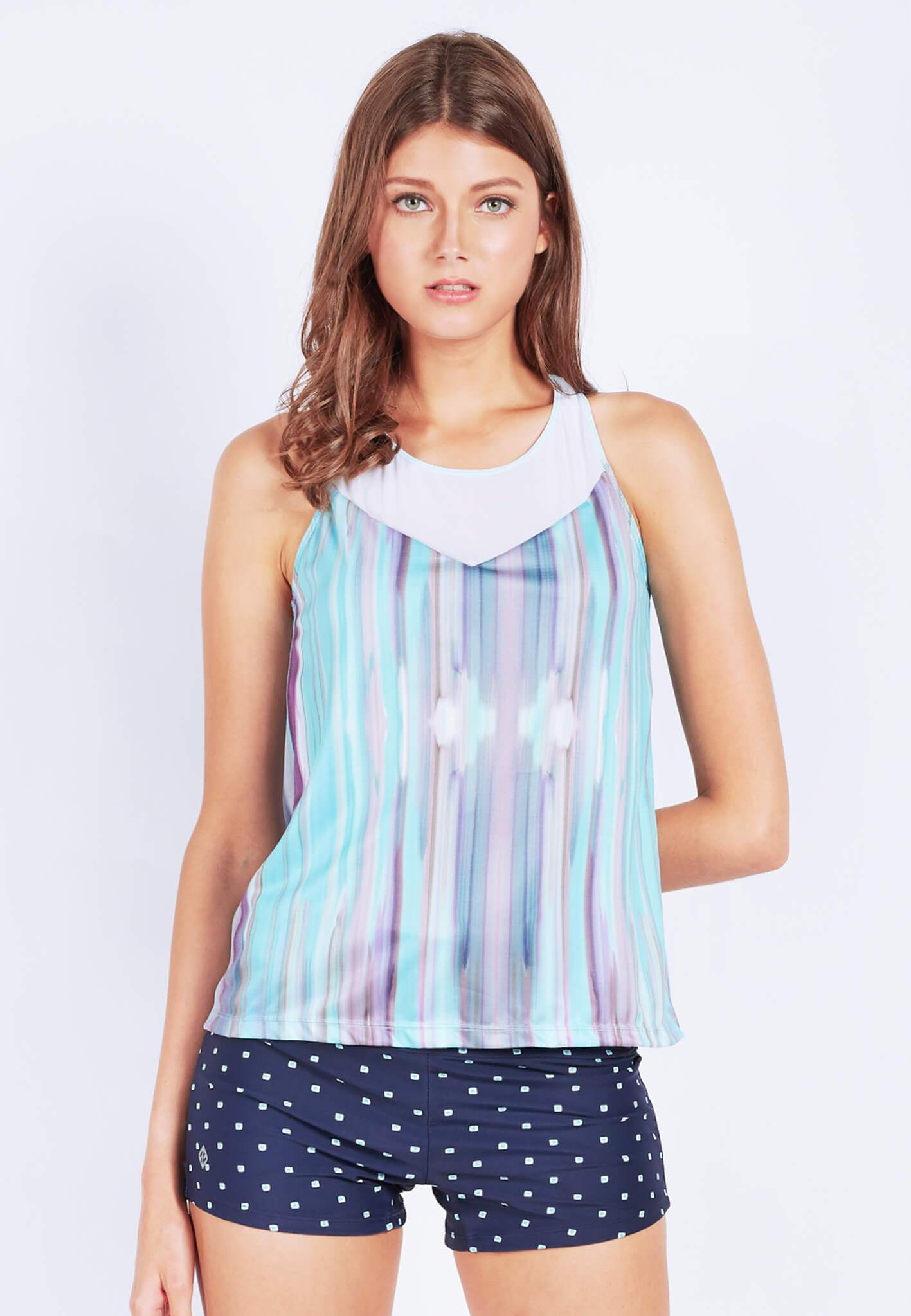 Rocking With Mesh Tank Top in Iridescence Print (XS - 2XL) - FUNFIT