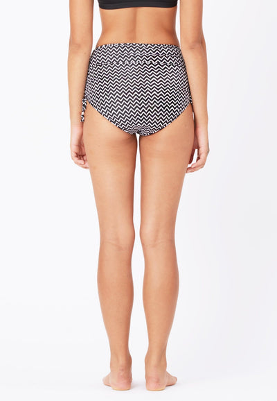 Ruched Swim Bottom in Chevron Print