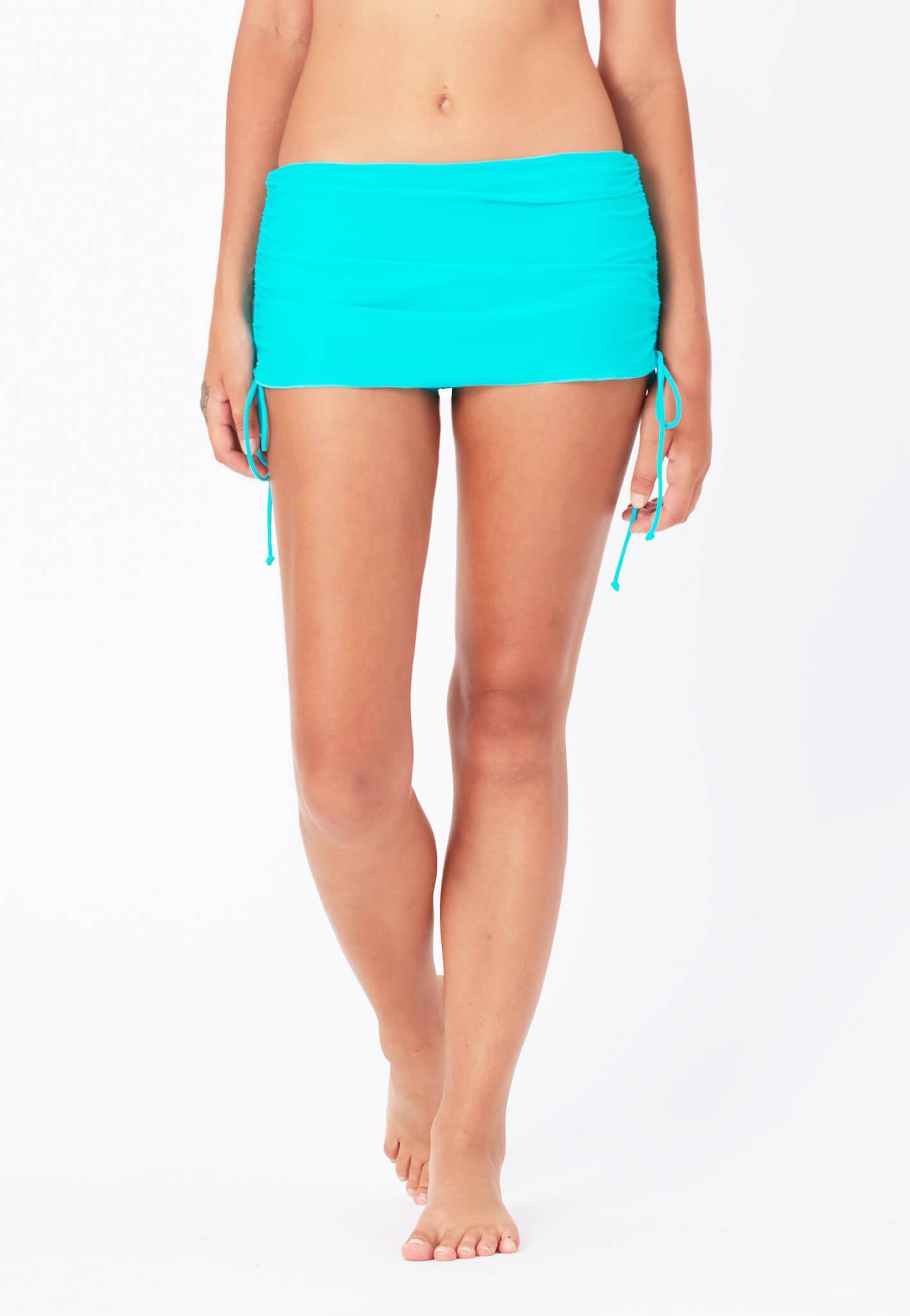 Ruched Swim Skorts in Turquoise - FUNFIT