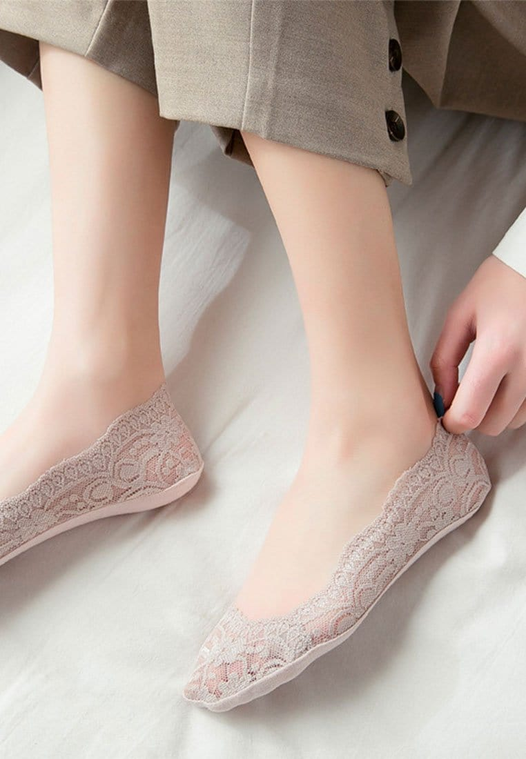 Lace Invisible Seamless Socks (Straight Front) | 2 Colours