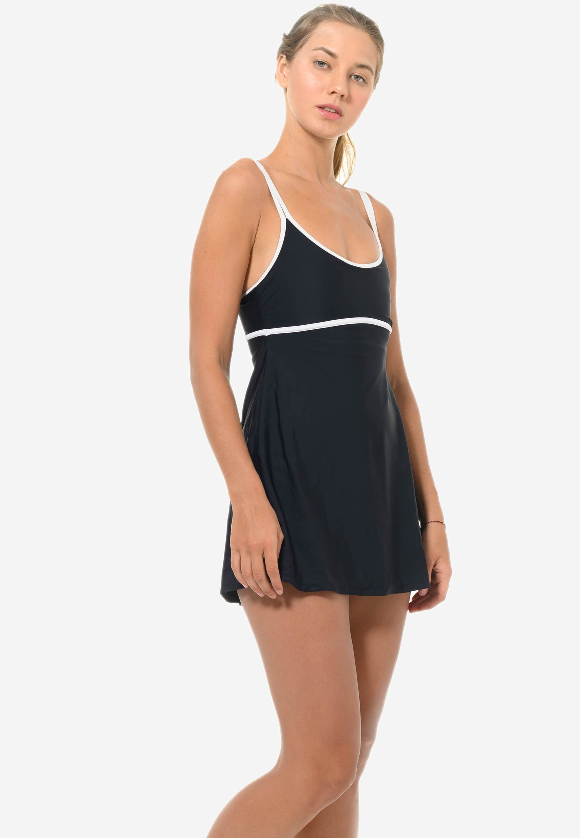 One-piece Colourblock Swimdress in Black/ White (S - L)