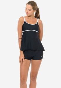 Colourblock Tankini Set in Black/ White (S - 2XL)