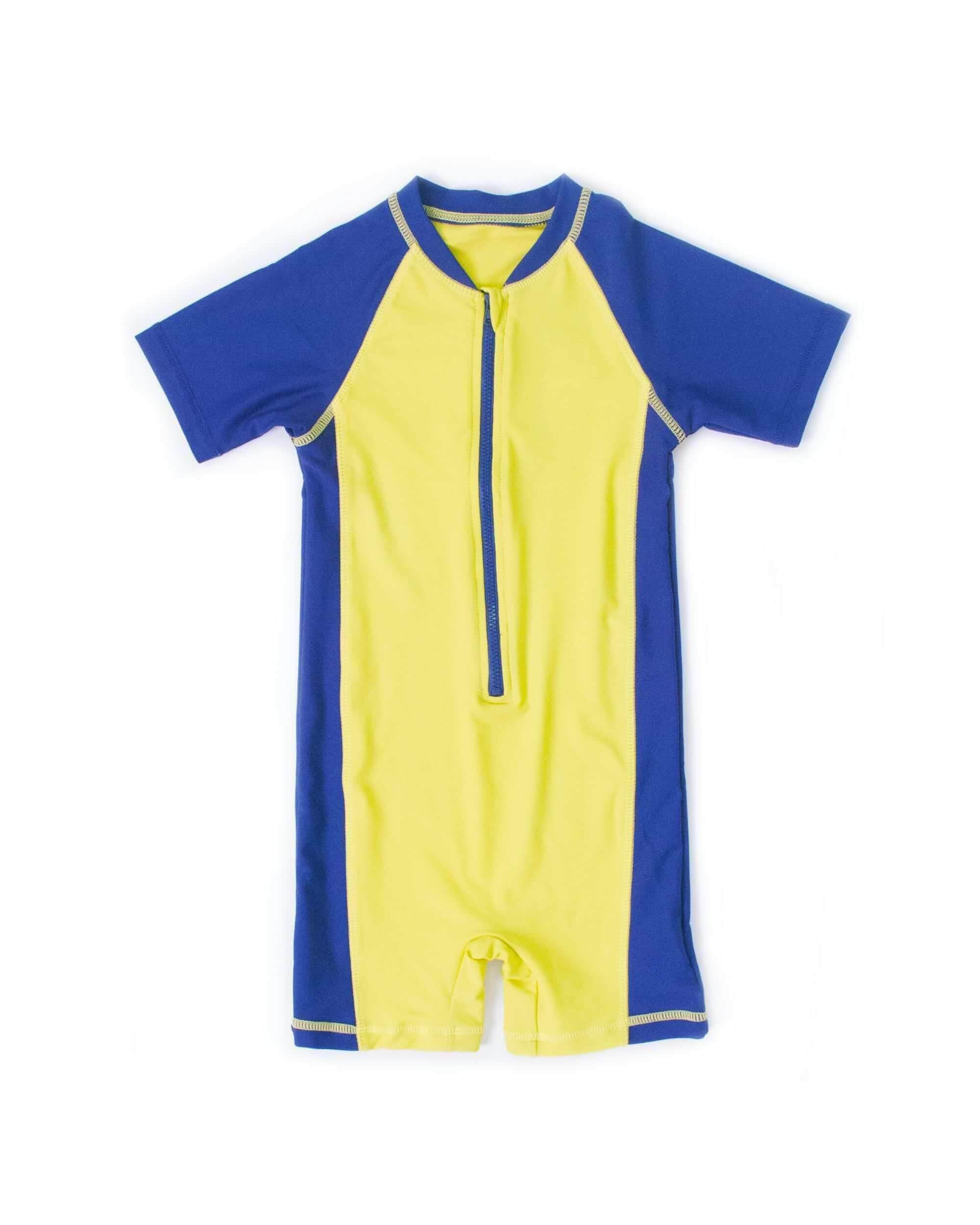 FUNFIT UPF50+ Junior Sunsuit (Unisex) in Neon Fluro/ Navy
