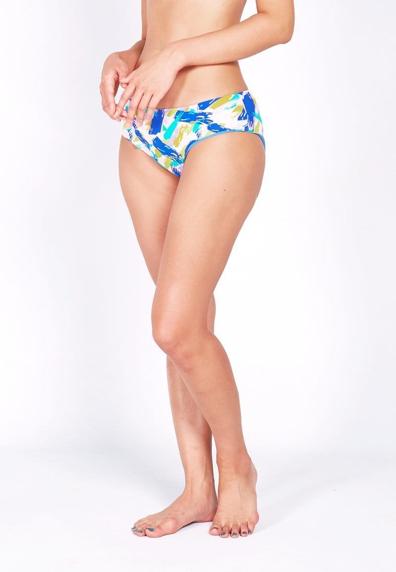 Reversible Bikini Bottom (Cerulean / Pastel Brush) | XS - XL