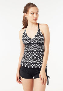 Back Lattice Tankini Top (Ikat) | XS - 2XL