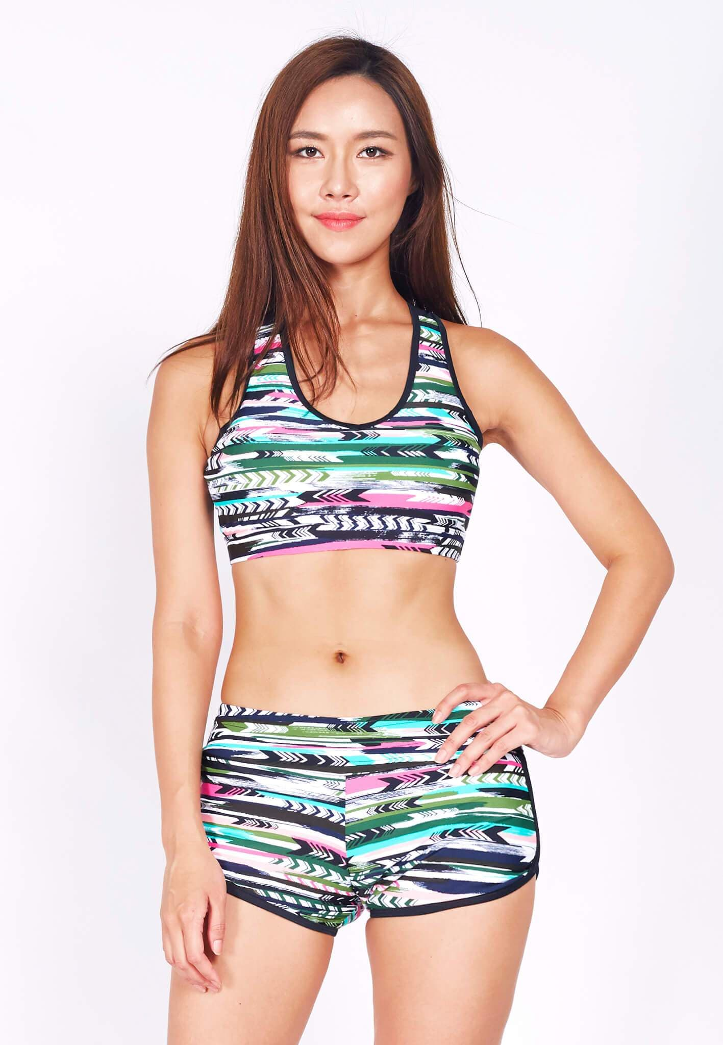 Swim Set: Racer Crop Top with Shorts in Arrow Print (XS - XL) - FUNFIT