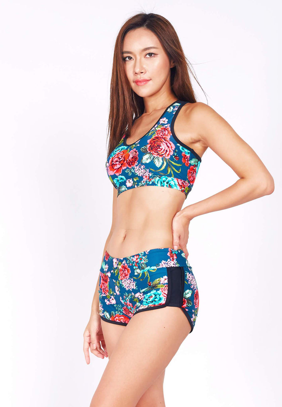 Swim Set: Racer Crop Top with Shorts in Rosacea Print (XS - XL) - FUNFIT