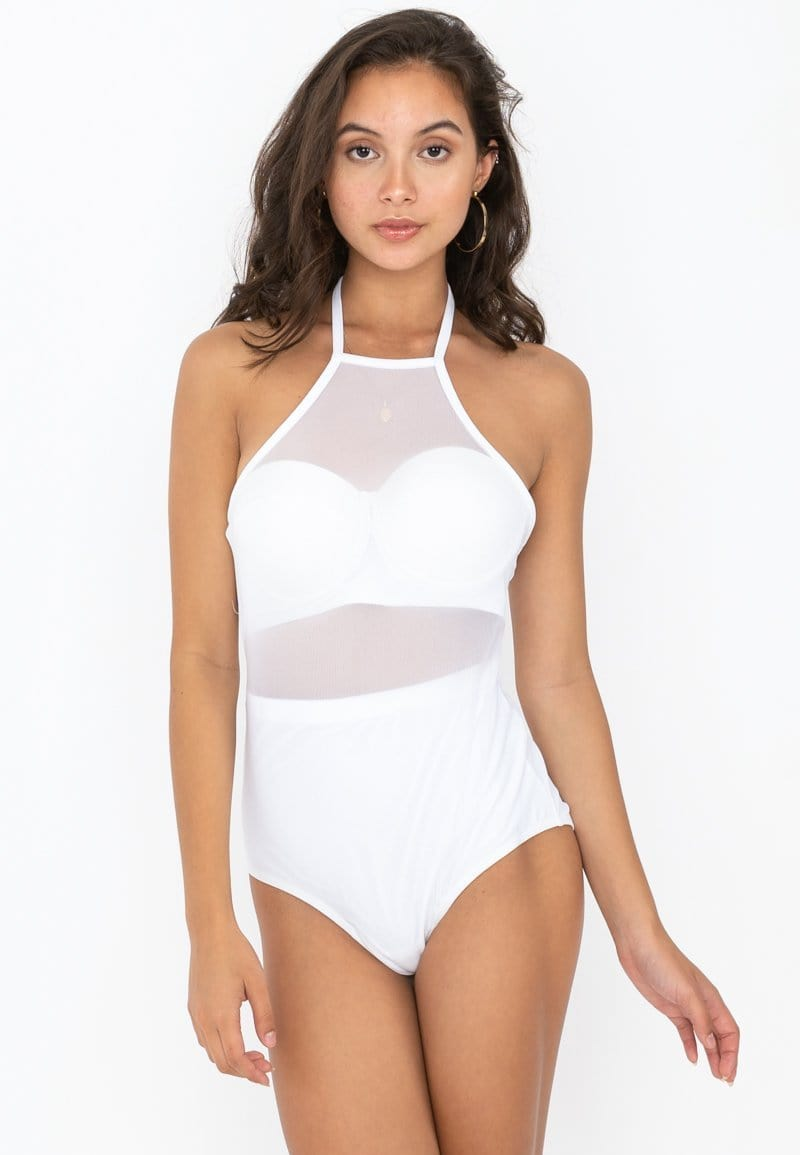 Mesh One-piece Swimsuit (White) | XS – L