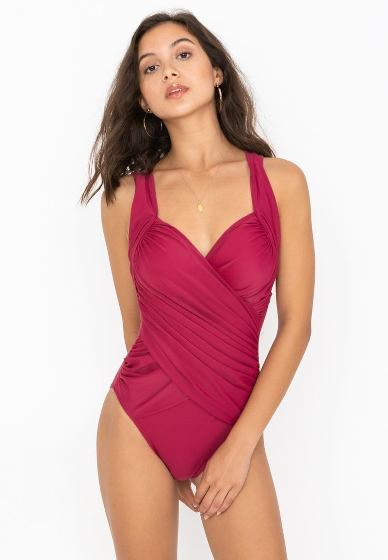 FUNFIT Layered Ruched One-piece Swimsuit (Magenta) | XS – XL