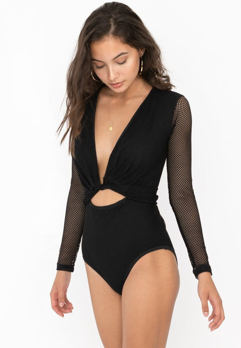 FUNFIT One Piece Long Sleeve Mesh Swimsuit (Black) | XS - L