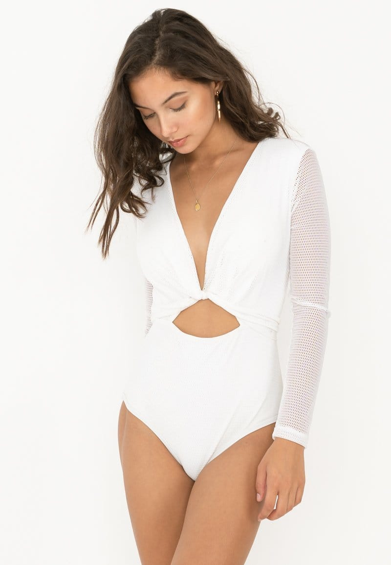 One Piece Long Sleeve Mesh Swimsuit (White) | XS - L