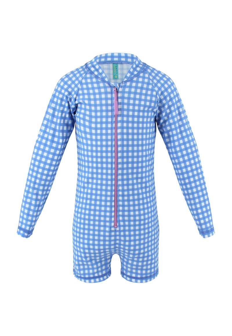 UPF50+ Junior Sunsuit (Unisex) in Gingham Summer Print