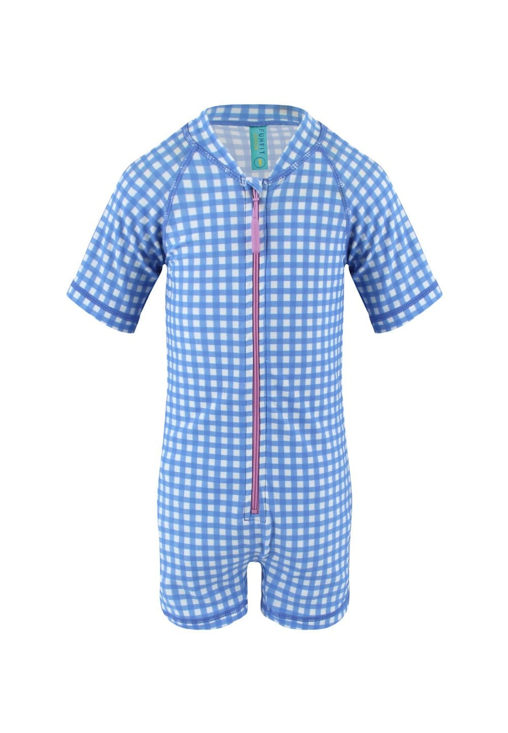 UPF50+ Junior Sunsuit Half Sleeve (Unisex) in Gingham Summer Print