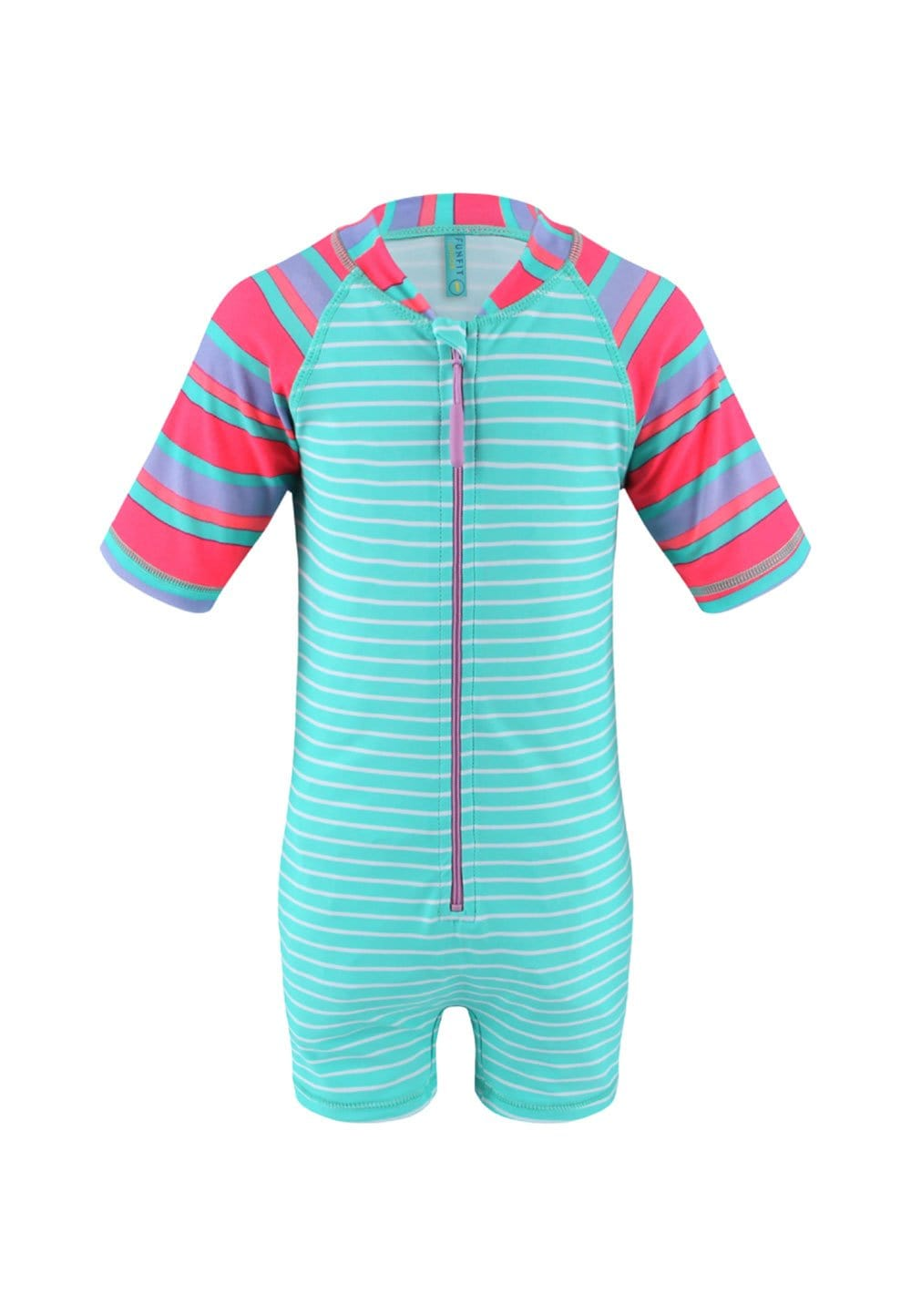 UPF50+ Junior Sunsuit Half Sleeve (Unisex) in Contrast Bubblegum Print