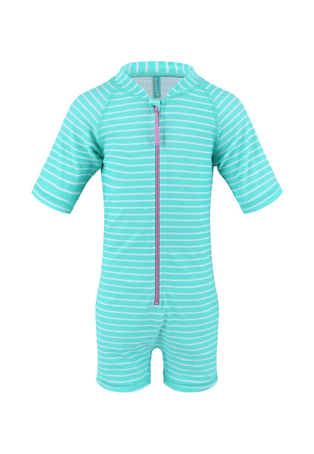 UPF50+ Junior Sunsuit Half Sleeve (Unisex) in Bubblegum Print
