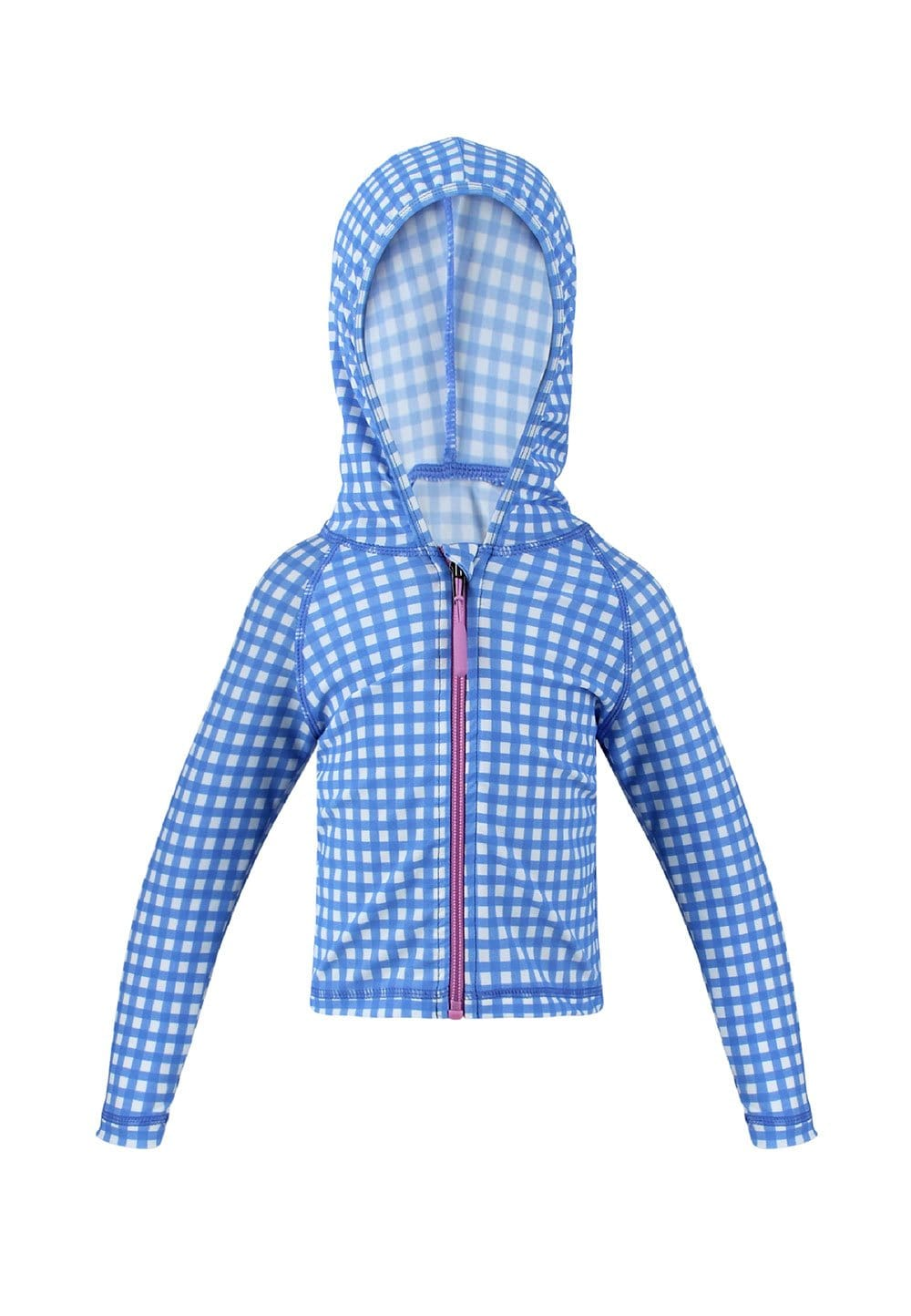 UPF50+ JUNIOR HOODIE (UNISEX) IN GINGHAM SUMMER PRINT