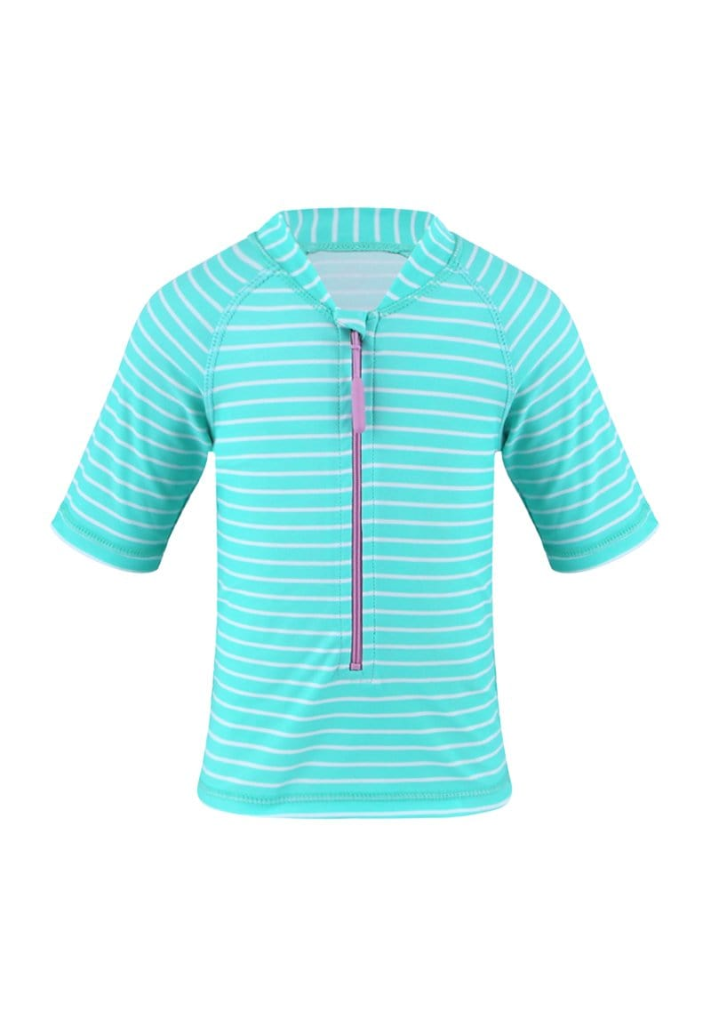 UPF50+ JUNIOR RASH TOP HALF SLEEVE (UNISEX) IN BUBBLEGUM PRINT