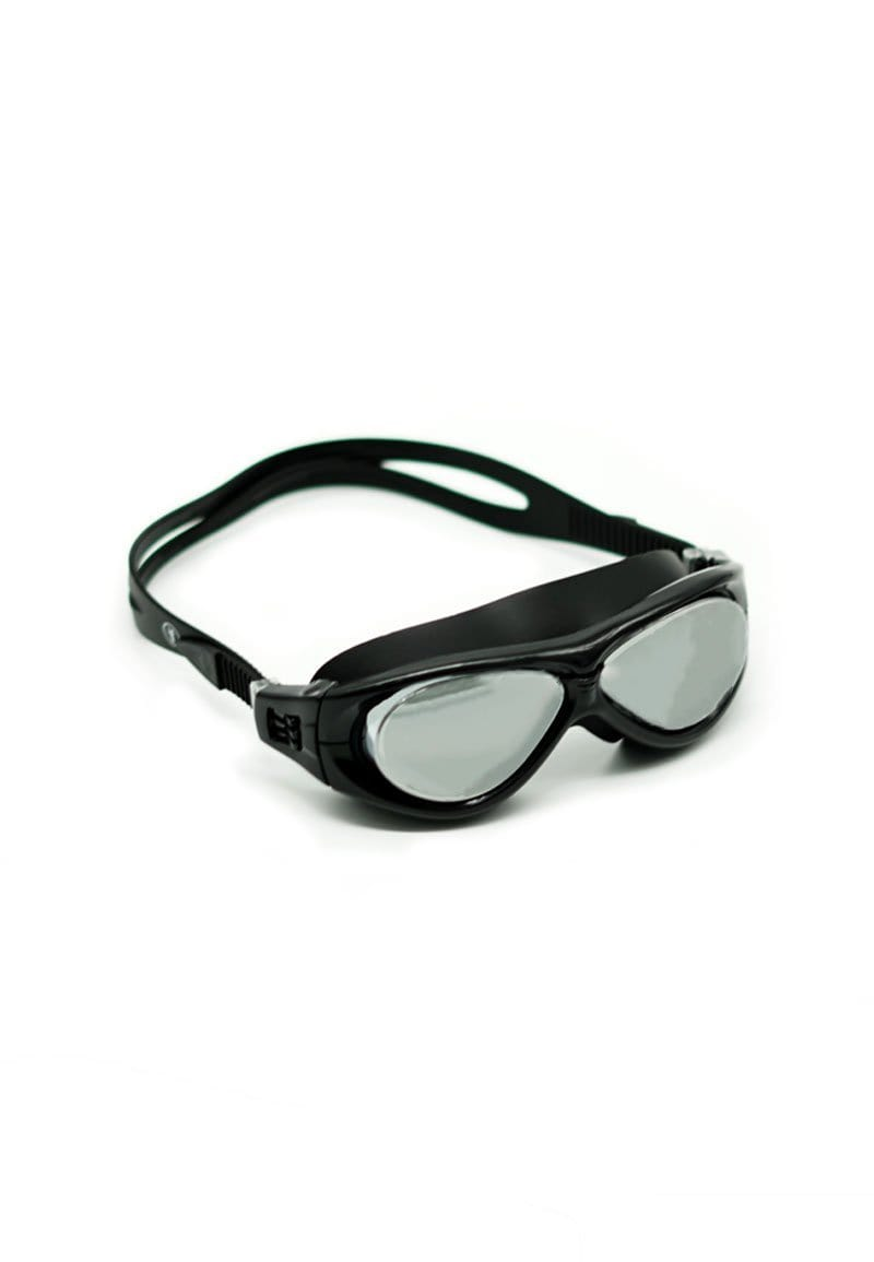 Wraparound Silver-Tinted Goggles in Black