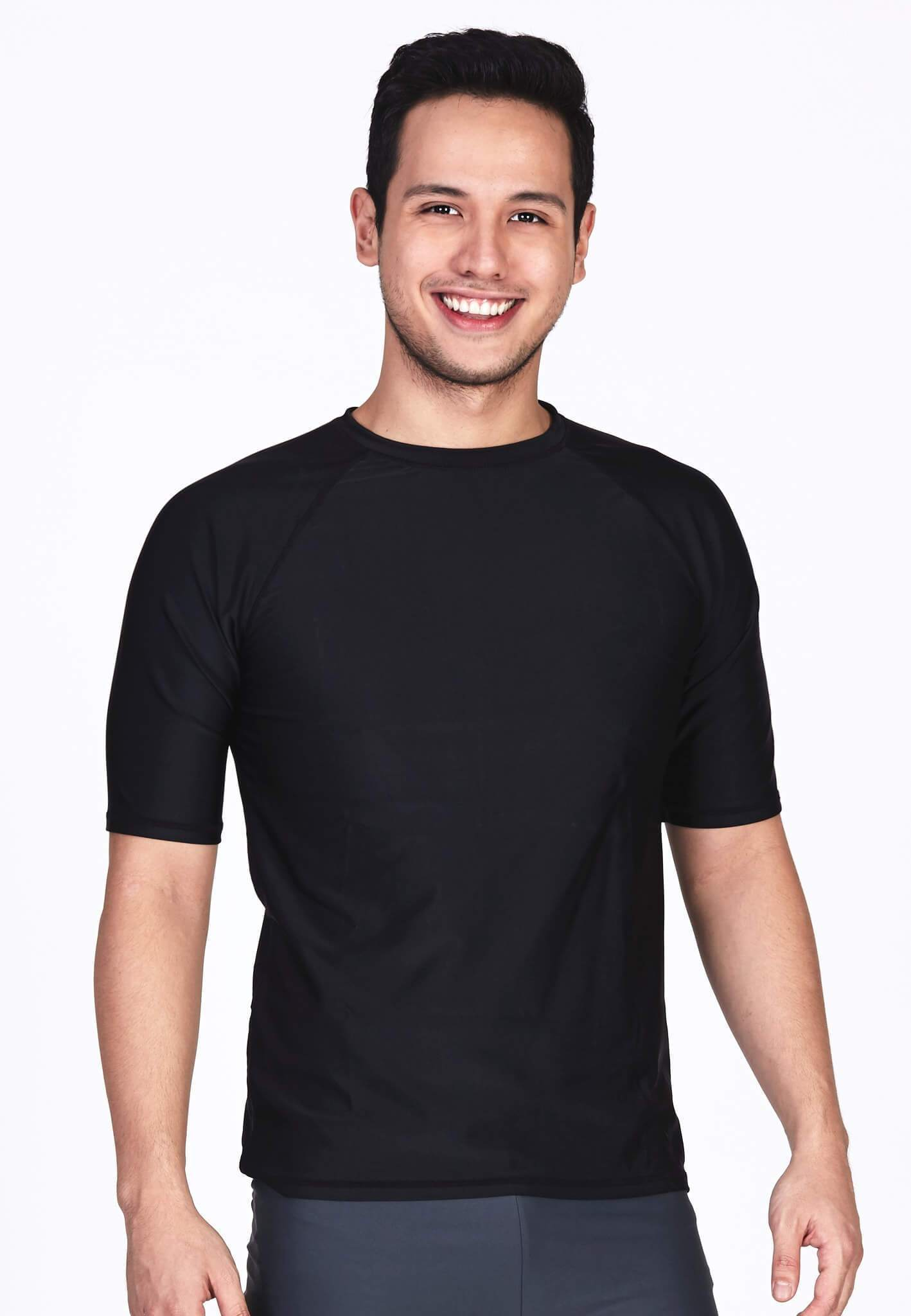 UPF50+ Crew Neck Tee in Black - FUNFIT