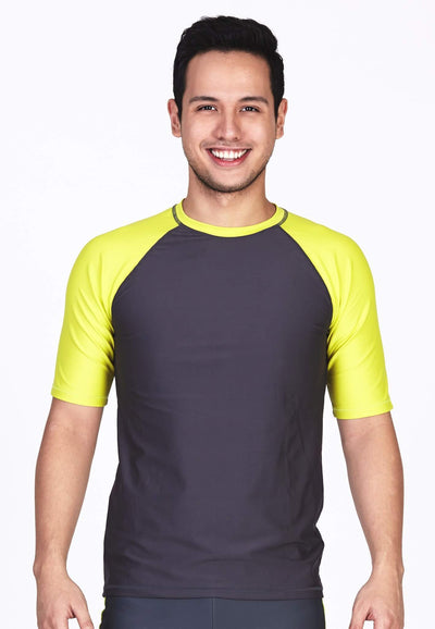 UPF50+ Crew Neck Tee in Neon Fluro/ Grey - FUNFIT