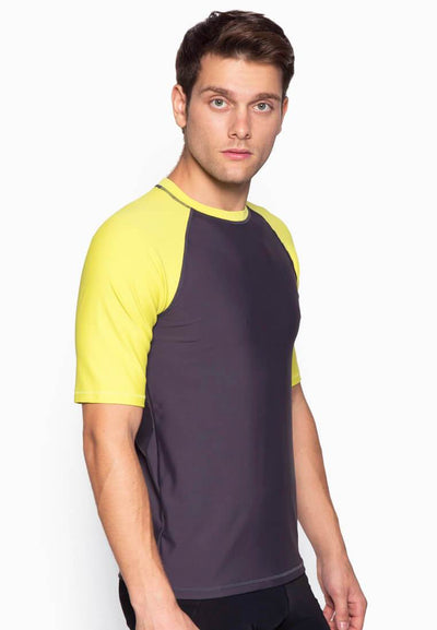 UPF50+ Crew Neck Tee in Neon Fluro/ Grey