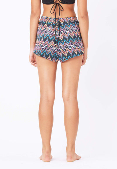 AthleiSwim™ Petal Hem Shorts in Aztecal Print