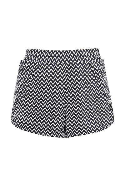 AthleiSwim™ Petal Hem Shorts in Chevron Print - FUNFIT