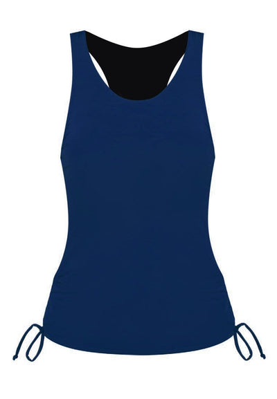 Side Ruched Tankini Top in Navy - FUNFIT