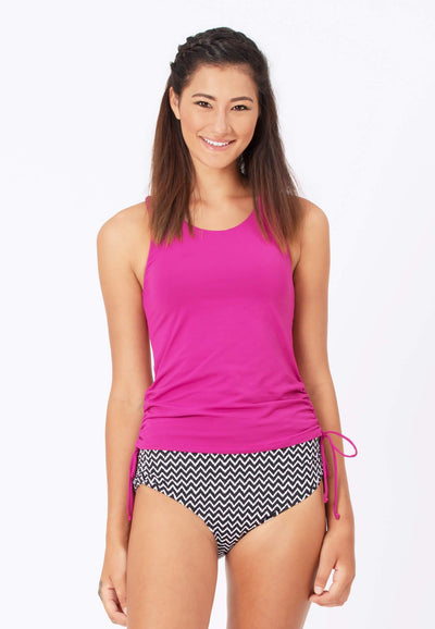 Side Ruched Tankini Top in Auburn Pink - FUNFIT