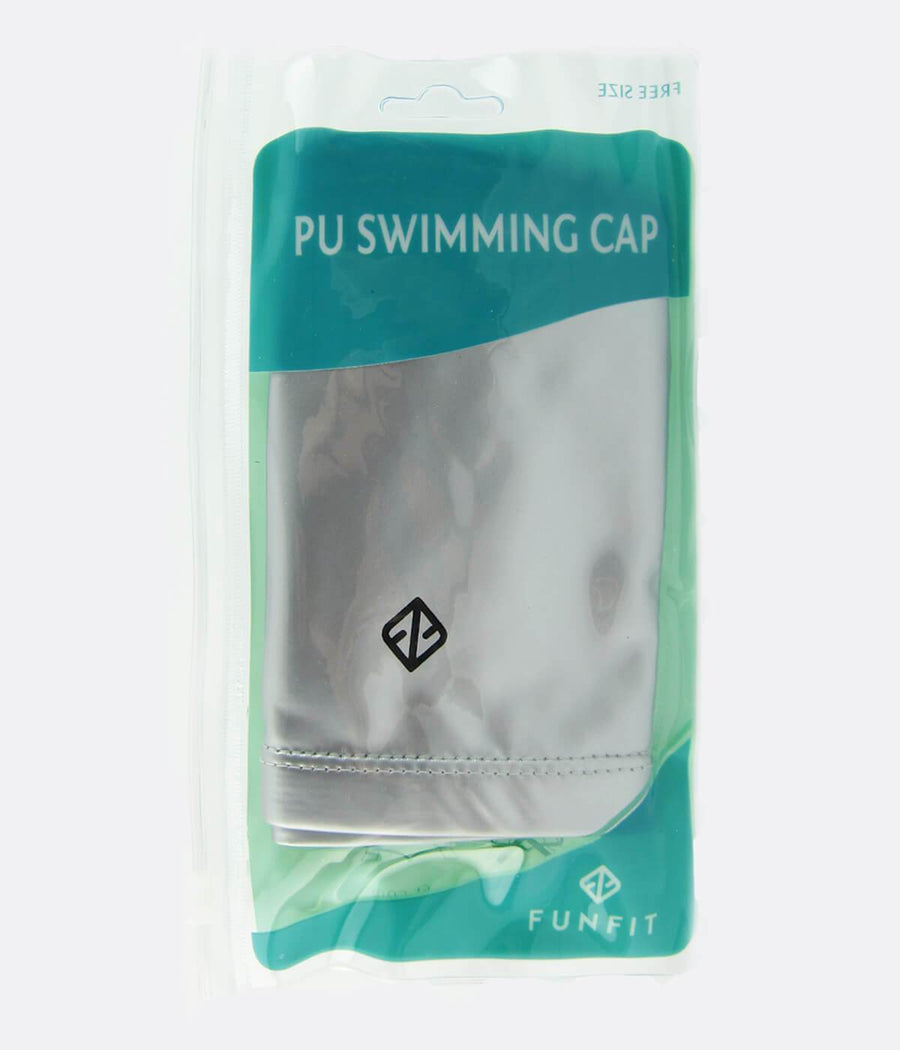 PU Coated Swimming Cap in Matte Silver