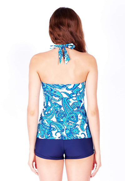Swim Set: Bandeau Tankini & Boyshorts in Paisley/Navy - FUNFIT