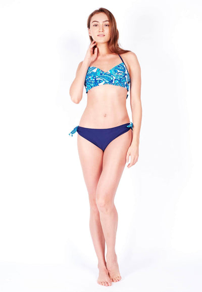 Swim Set: Crossover Bikini & Brief in Paisley/Navy - FUNFIT