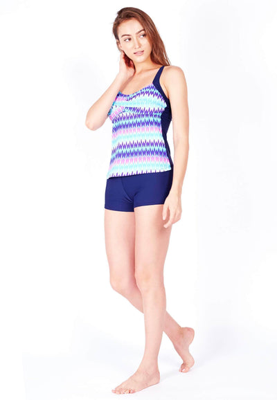 Swim Set: Colourblock Tankini & Boyshorts in Rumic/Navy - FUNFIT