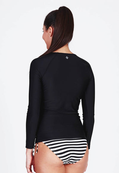 UPF50+ Long Sleeve Rash Top in Black - FUNFIT